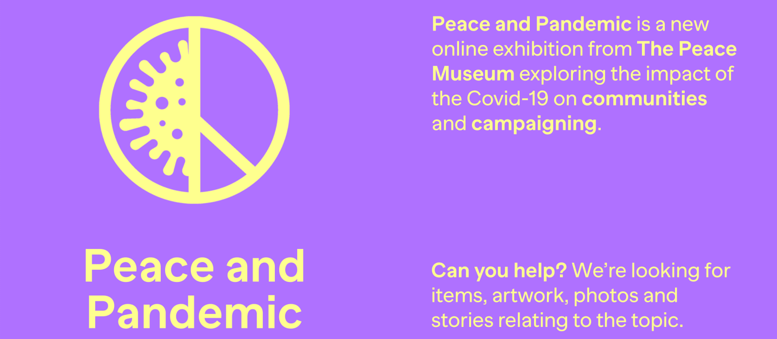 Peace and Pandemic online exhibition launched!